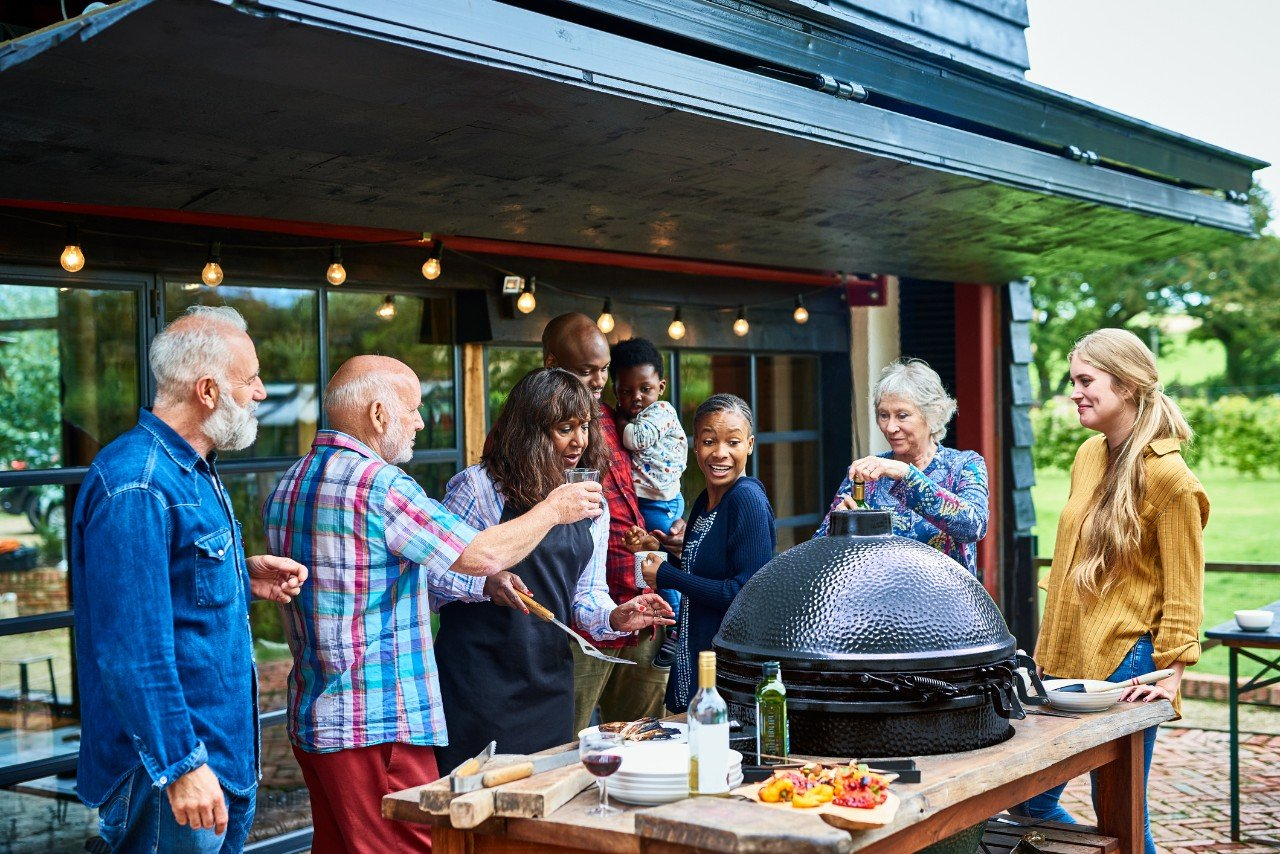 Family outdoor grilling