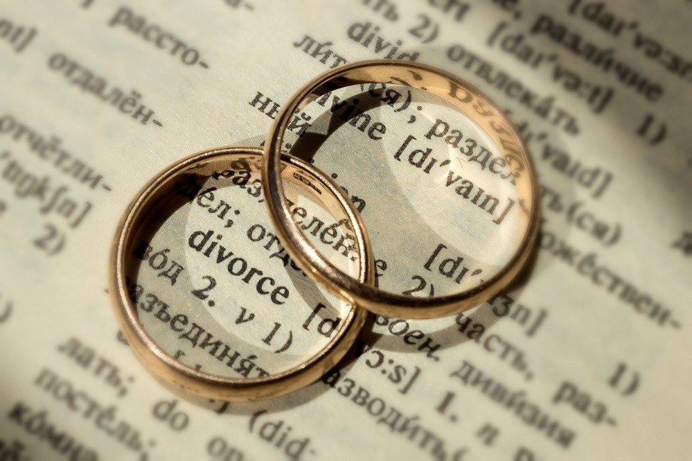 """Two separate wedding rings next to the word """"divorce"""". The concept of changing your name after divorce."""